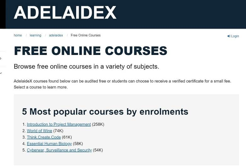 University of Adelaide Free Online Courses